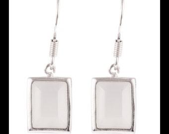 Sterling Silver White Oval Or Rectangle Drop Earrings, Shepherd Hooks