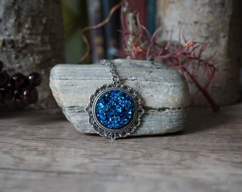 Necklace Blue Crystal Stone