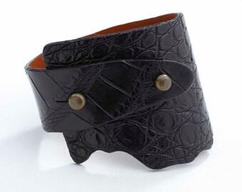 Genuine Alligator Wide-Wrap Luxury Bracelet in Black - Exotic Leather