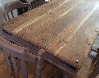 SOLD Dining table and chairs rustic farmhouse