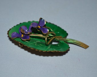 Vintage Austrian Violets on Leaf Brooch - Collectible