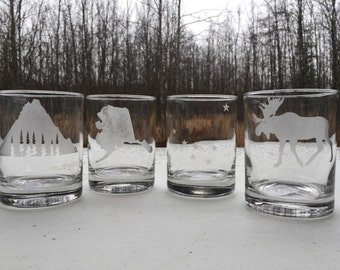 Etched whiskey glasses, Alaska theme, set of 4, state of alaska, alaska flag, mt Redoubt, moose, outdoor, Personalized whiskey glasses,