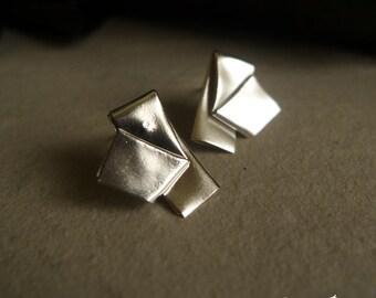 Origami Post-it Earrings in Sterling Silver/Silver Stripe Earrings/Fold Earrings/Paper fold Earrings/Free style Earrings/Geometry Earrings