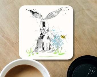 Rabbit coaster, wood coaster, rabbit gift, table coaster, drink coaster, wooden coaster, rabbit lover gift, coaster, rabbit, home decor