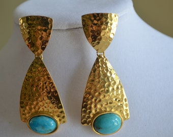 Authentic Turquoise Stone Pre Columbian Style Hand-Hammered Bronze 24K Gold Plated Dangle Earrings - Unique Piece