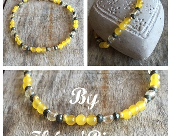 Bracelet Citrine yellow calcite & iron Pyrite