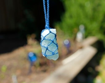 Aquamarine Crystal Macrame Necklace (hand-knotted/thread only/no metals)