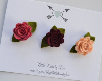 Set of 3 felt Flower Clips