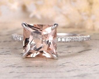Morganite Ring, White Gold Ring, Diamond Ring, Engagement Ring, Morganite Engagement Ring