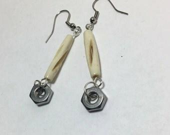 Handmade Genuine Stainless Steel Hex Nut Carved Bovine Bone Industrial Tool Dangle Earrings Jewelry