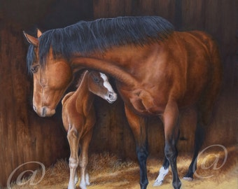 original oil painting, horse, horses, western, realistic, fine art, animal, farm, large, Jan Brown
