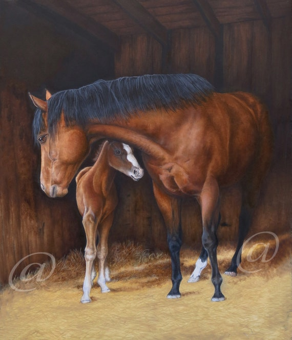 original oil painting horse horses western realistic fine
