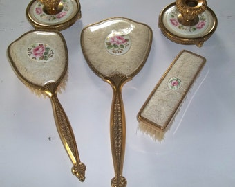 Antique Vintage Victorian Vanity Set Brush Mirror Candle Holders Shabby Chic Pink Floral White Gold