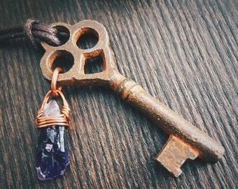 Amethyst, Smoky Quartz, and Quartz Skeleton Key Necklace