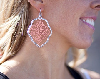 Painted Lace Earrings - Coral/Silver