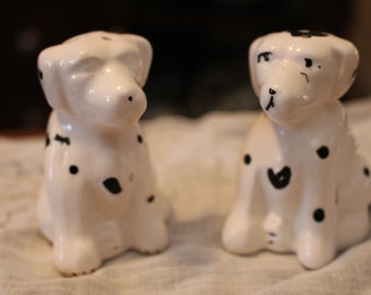 Adorable Vintage Ceramic  Dalmation Dogs Salt and Pepper Shakers.