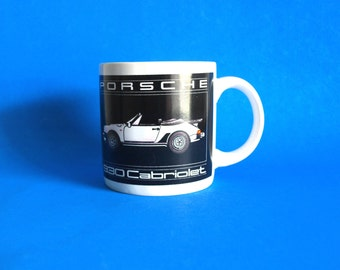 Vintage Porsche 930 Cabriolet Coffee Mug - Collectable Car Lover Cup - Black & White Convertible Automobile Car Lover