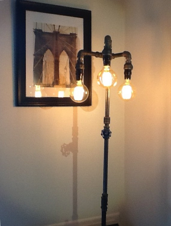 floor lamp idustrial steampunk edison bulb. Black Bedroom Furniture Sets. Home Design Ideas