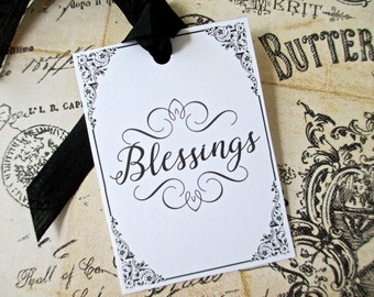 Black and White Blessings Tags - Set of 6