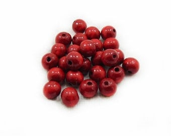 Red Wooden Beads, Wooden Beads, Wood Beads, Red Beads, 20 pcs Wooden Beads, Jewelry Making, Craft Supplies