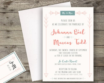 Printable or Printed Teal Modern Brush Calligraphy Wedding Invitation \\ RSVP Card Save the Date Card \\ 5 x 7 Invitation Kit \\ Custom