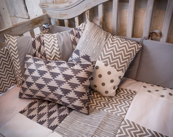 Decorative Pillows - Grey Patchwork Gender-Neutral
