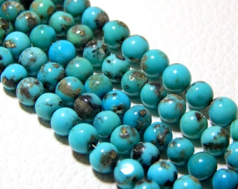 Sleeping Beauty Turquoise Round beads 100% Natural Gemstone - Size 5 mm Approx  --- Code - 0291