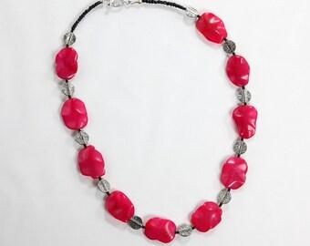 Dyed Pink Gemstone & Pewter Bead Bracelet