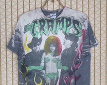 The Cramps vintage rare T-shirt, Mosquitohead, soft thin faded, Lux Interior, Poison Ivy Rorschach, horror, punk goth