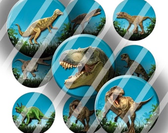 "Digital Bottle Cap Collage Sheet - Dinosaurs - 1"" Digital Bottle Cap Images"