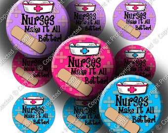 "Digital Bottle Cap Collage Sheet - Nurses Make It Better (980) - 1"" Digital Bottle Cap Images"