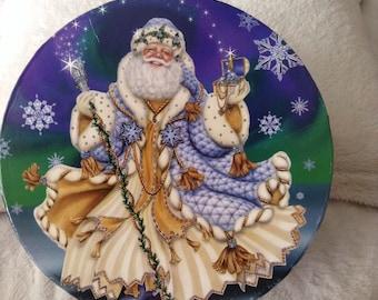 Reduced  Christmas Sale / Holiday Sale Vintage Christmas Santa Hat Box /Gift Box /Storage Box