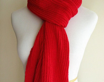 100% Cashmere Hand Knit Scarf (Red, 0006)