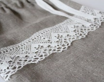 Linen bread bag. Linen lace gift bag. Linen travel bag. Pre-washed natural Unbleached linen.