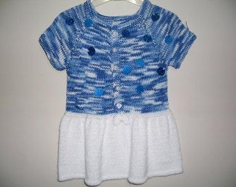 Knit baby dress, baby dress, knitted baby dress, baby dress, baby clothes, baby shower gift, hand knit baby dress, knitted baby clothes