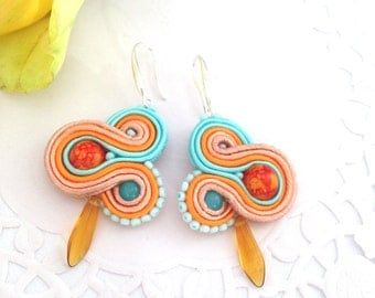 Drop Soutache Earrings - Dangle Earrings - Soutache Earrings - Handmade Earrings