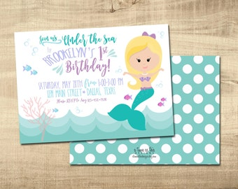 MERMAID BIRTHDAY INVITATION - Under the Sea - Digital/Printable Invite
