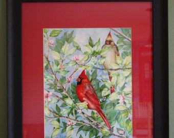 Cardinals in a Flowering Tree