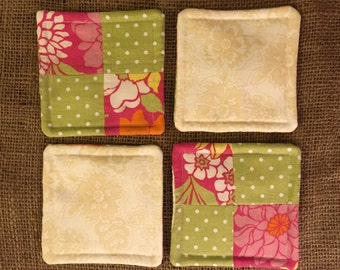Quilted Coasters - Set of 4 - Pink and Green Floral