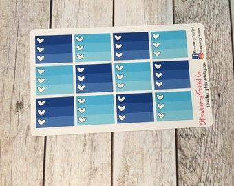 Blues Monthly Half Ombre Checklist Planner Stickers -Vertical Planners/