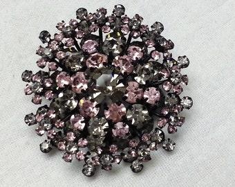 Vintage, Austria, brooch, grey and pink Swarovski rhinestones, 1950