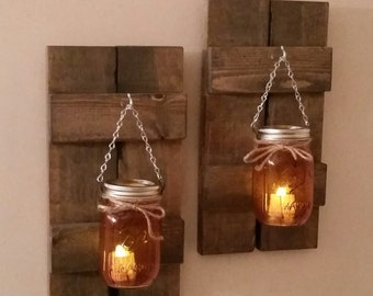 Pallet Wood Shutters / Mason Jar Lanterns / Pair  / Rustic Wooden Wall Sconce