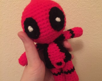 Deadpool Amigurumi | Made to Order | comic book nerdy toy stuffed crochet superhero Marvel action figure