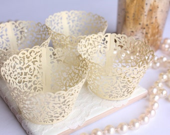 Yellow Lace Filigree MINI Cupcake Wrappers, Shimmer Soft Yellow Laser Cut Elegant Lace Cupcake Wrapper/Liner for MINI cupcakes - Set of 12