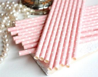 Pink Paper Straws, Pink and White Polka Dot Paper Straws, Birthday Decor, Bridal Shower Straws - Set of 25