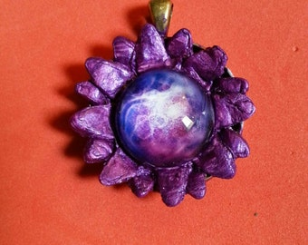 galaxy flower pendant magenta