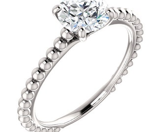 Solitaire Engagement Ring, Beaded Solitaire Ring, Diamond Solitaire Engagement Ring, Unique Solitaire Ring, Moissanite Solitaire Ring