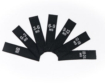 Woven Labels Baby Sizes  Woven Garment Size Labels Black Woven Label with White Print