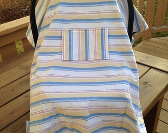 Car Seat Cover / Canopy - Blue, Red, Beige Stripes