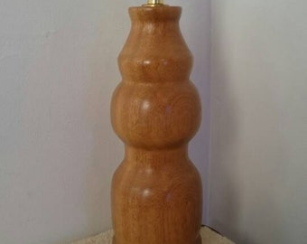 Woodturned Table Lamp In Solid Iroko